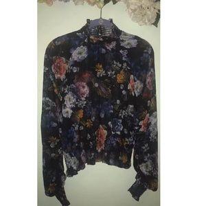 H&M Floral Paint Blouse, Long Sleeve/High Neckline